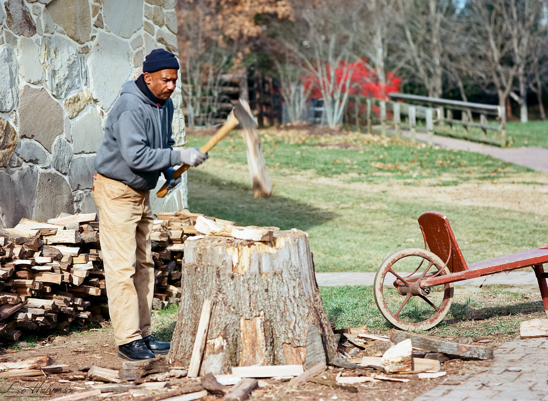 Chopping kindling for the Distillery