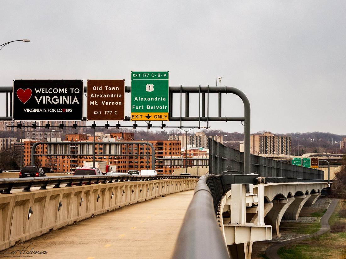 Woodrow Wilson Bridge entering Virginia