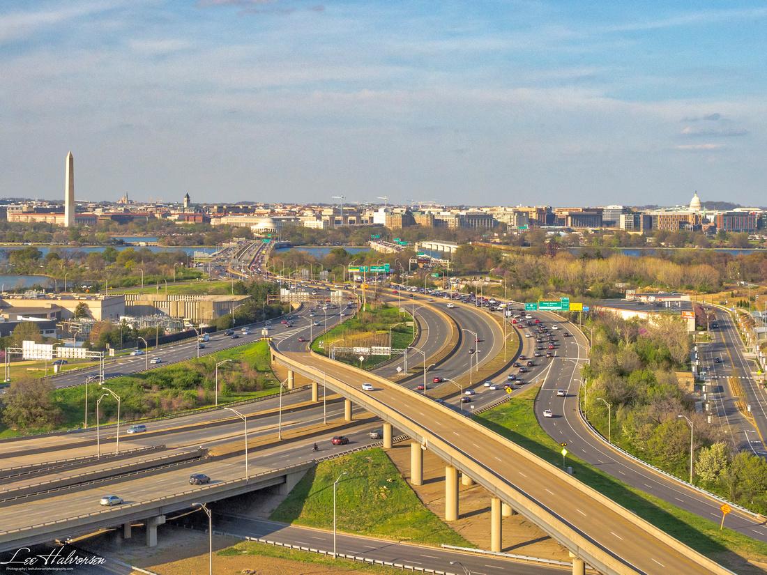 Washington DC viewed across 14th St Bridge