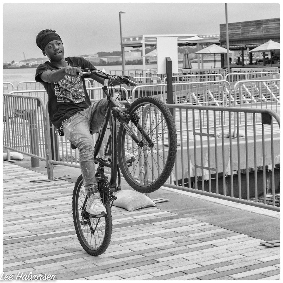 Bicyclist on Docks