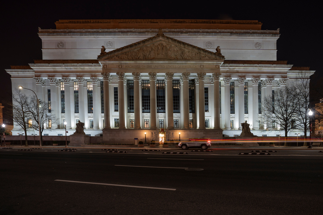 The Back of the National Archives in Washington, DC