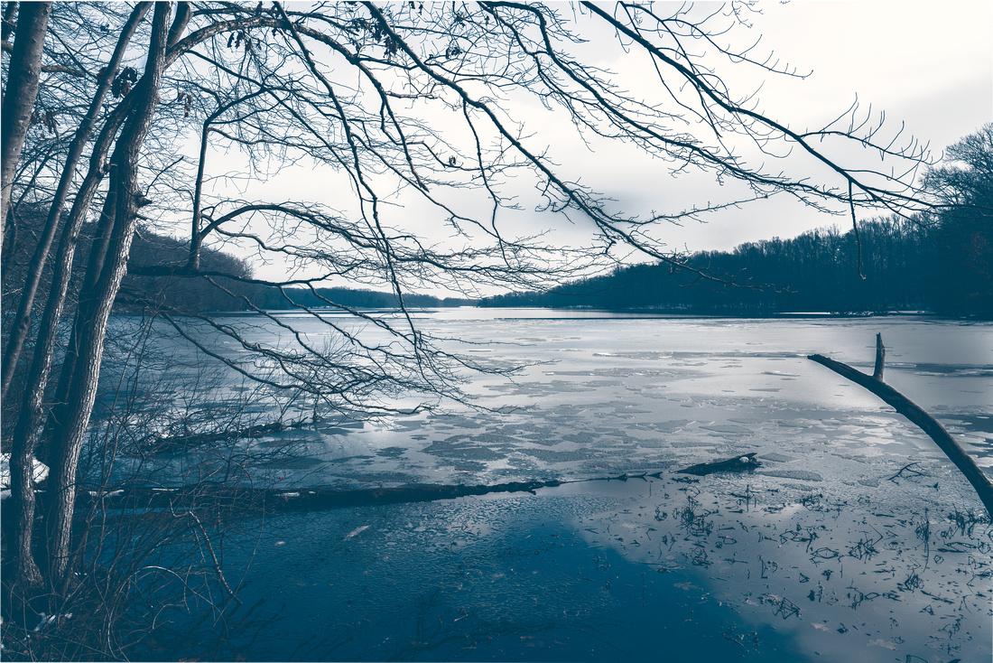 Burke Lake ice at sunset
