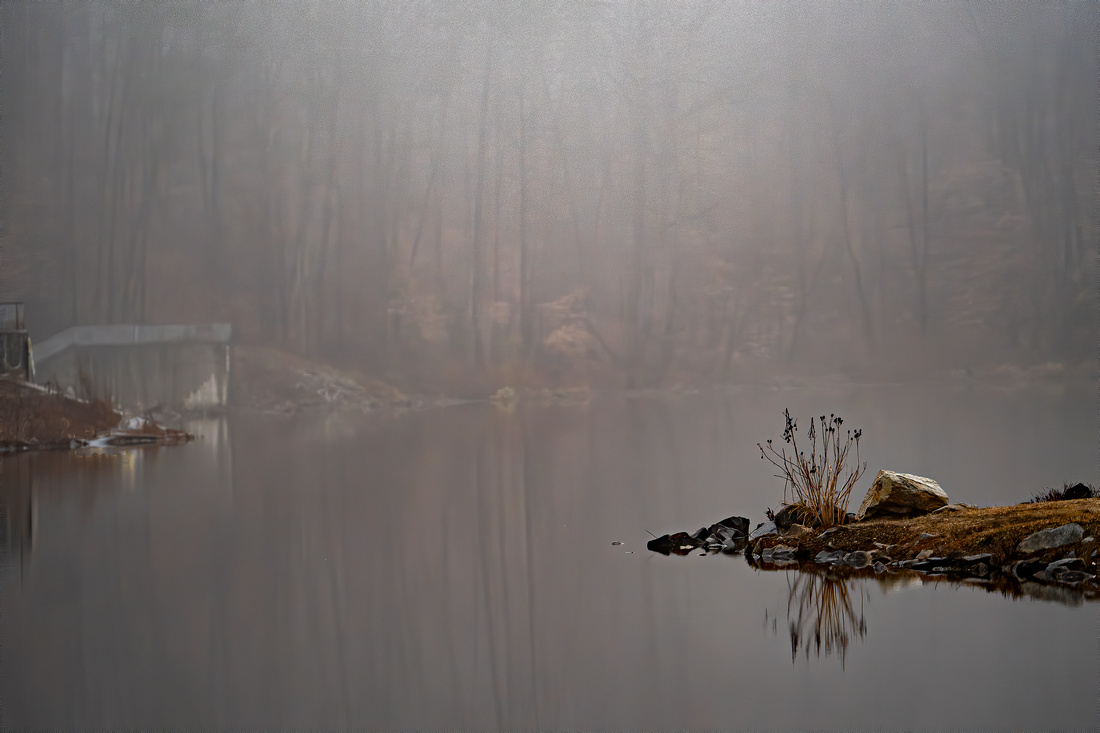 Looking across Lake Accotink as the fog recedes