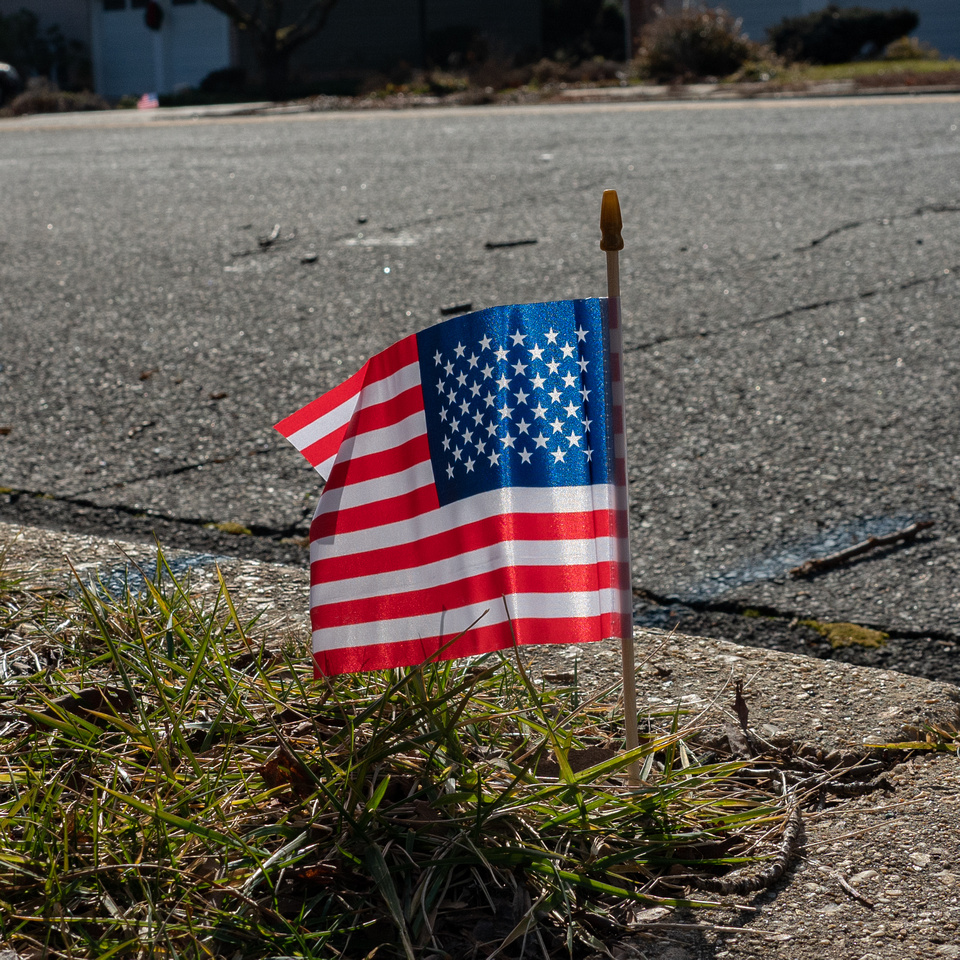 Flags placed along mail route honoring Billy Dew