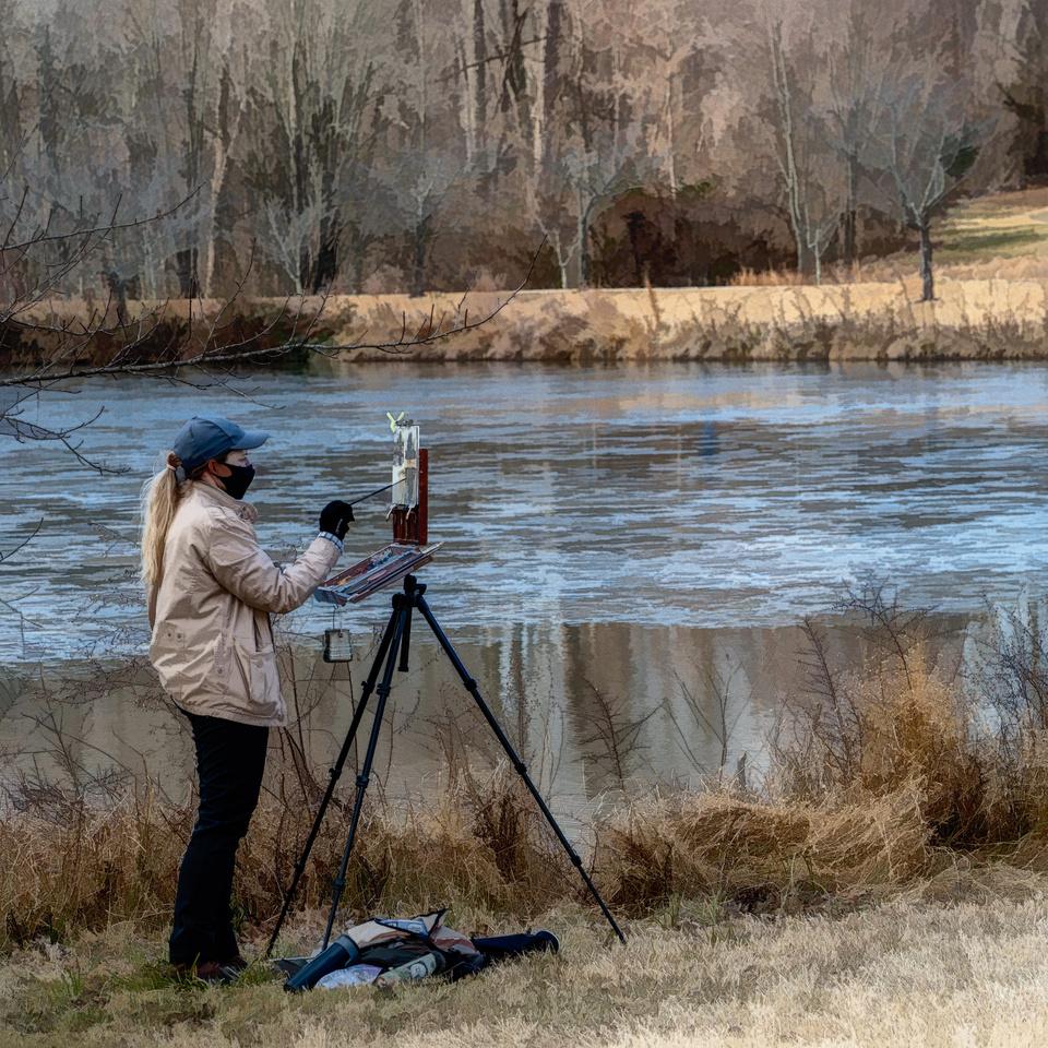 Artist at the Lake
