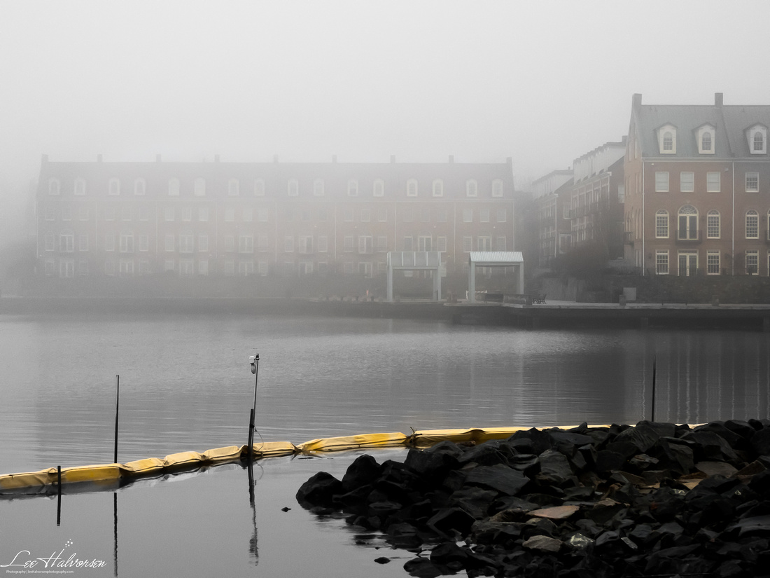 Renovation of old docking area. Newer, high end townhomes in the fog just across the small bay.